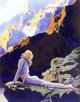 Lady on a Horse Castles Mountains by Maxfield Parrish