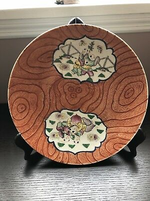 ANTIQUE CHINESE large 13'' 33 cm Famille Rose PORCELAIN PLATE kid play qian Long