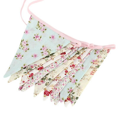Double Sided Vintage Floral Fabric Bunting Party Wedding Girls Bedroom Decor