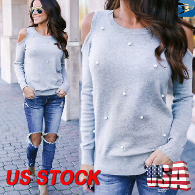e7a8e842c4d55 US Womens Cold Shoulder Pearls Long Sleeve Tops Blouse Ladies Casual T  Shirt Tee