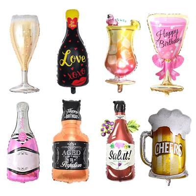 Champagne Wine Bottle Balloons Happy Birthday Party Decoration Aluminum Foil