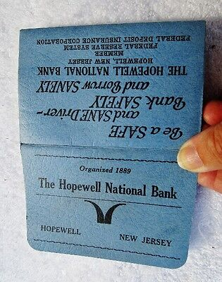 """The Hopewell National Bank, Hopewell, NJ: Vintage Adv """"Handy Holder"""", Sold 1956"""