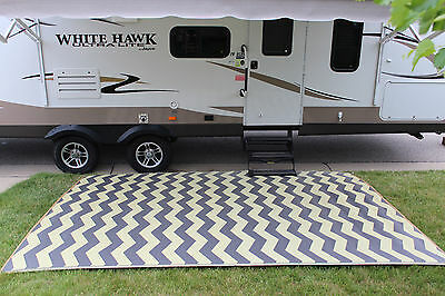 RV PATIO RUG INDOOR OUTDOOR CAMPING MAT CHEVRON PATTERN 9x16