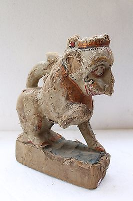 Antique Old Hand Carved Wooden South Indian Holy Lion Figurine Decorative NH3501