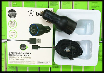 Belkin 2.1A Dual Auto USB Car Charger + Free Cable For Apple iPhone top Android