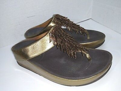 35327fb10645 FITFLOP 336-012 WOMEN S Bronze Leather Cha Cha Thong Sandals Size 7 ...