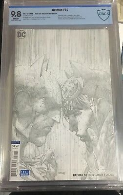 Batman 50 Jim Lee 1:100 Pencils Sketch Variant Cbcs 9.8 Wedding Catwoman Dc 2018