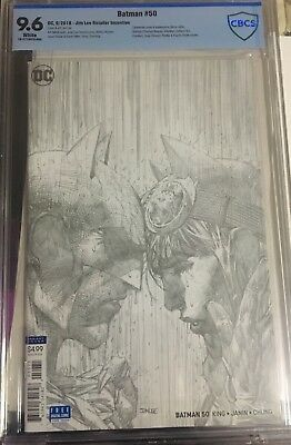 Batman 50 Jim Lee 1:100 Pencils Sketch Variant Cbcs 9.6 Wedding Catwoman Dc 2018