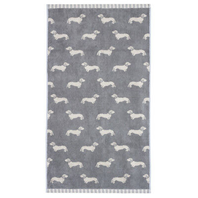 NEW Emily Bond Dachshund Grey Hand Towel