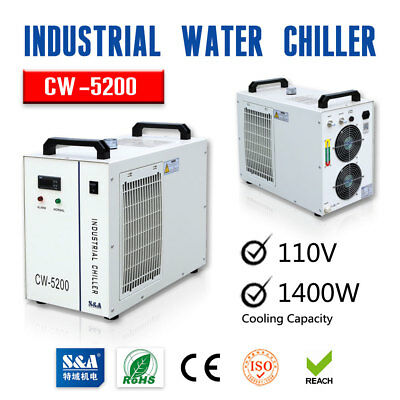 S&A 110V CW-5200DG Industrial Water Chiller for 130W/150W CO2 Laser Tube Cooling