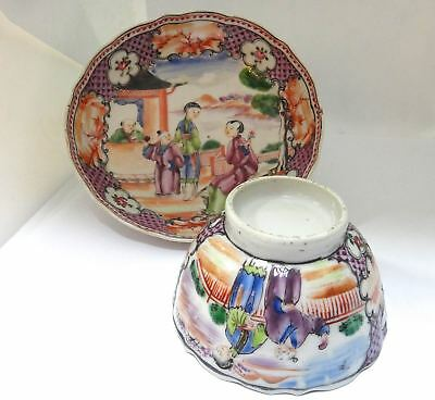 18th Century CHINESE Export Canton Tea Bowl and Saucer, c. 1760.