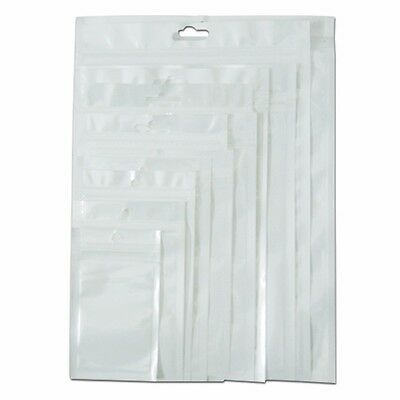 100x Front Clear Back White Zip Lock Plastic Bag Self Seal With Hang Hole Pouch