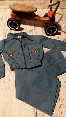 Vintage 1970's Boy's Blue Jacket and Flared Trouser Set. Age 6/7.