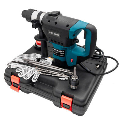 "Blue 1 1/2""  Electric Rotary Hammer Drill SDS Concrete Tile Breaker Chisel Kit"