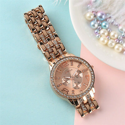 GENEVA Luxury Women Full Stainless Steel Band Quartz Dial Wrist Watch Crystal