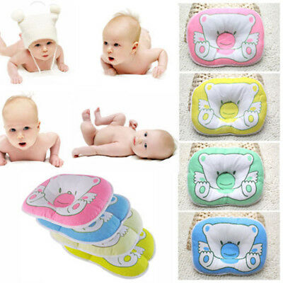 Soft Baby Kids Bed Pillow Infant Toddler Lovely Baby Bedding Bear Print Oval New