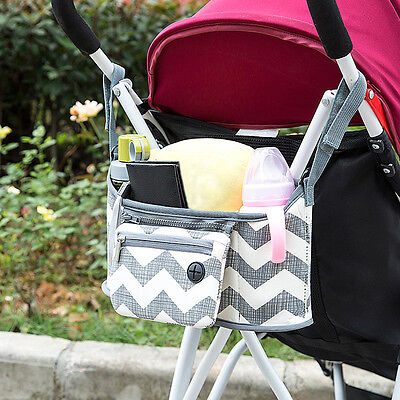 Portable Baby Cart Strollers Bag Organizer Basket Canvas Pushchair Cup Bag New