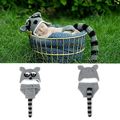 New Baby Boy Girl Photography Props Hat Diaper Crochet Raccoon Knitted Costume