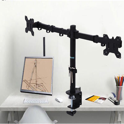 "Dual LCD Monitor Computer Desk Mount Stand Adjustable Screen 13""-27"" 2 Arms New"