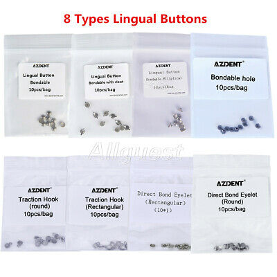 Dental Orthodontic Lingual Button Bondable Round/Rectangle Base Direct Eyelets