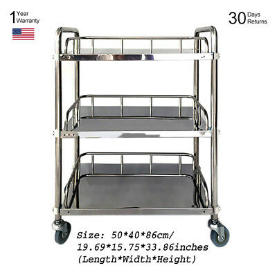 Hospital Shelving Tray Carts Medical Dental Trolley Stainless Steel Portable BMG
