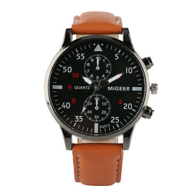 Fashion Men's Leather Band Sports Analog Military Quartz Watch Leather Strap