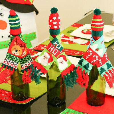 Lovely Red Wine Bottle Cover Bags For Christmas Xmas Decoration Sknowman Elk