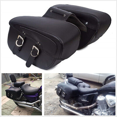 Pair PU Leather Black Motorcycle Scooter Saddle Bags Luggage Bags Large Capacity