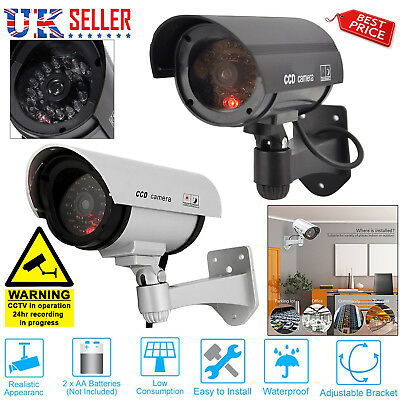 Fake Dummy CCTV Security Camera Flashing LED Light Indoor Outdoor Cam Silver