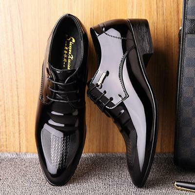 Men Business Black Leather Shoes Pointy Toe Formal Dress Casual Prom Size k99733