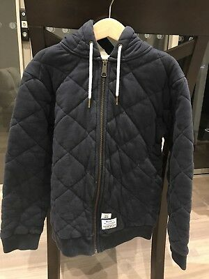Country Road Boys Quilted Jacket / hoodie Dark Blue size 10 diamond pattern.
