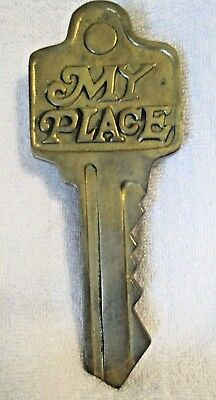 "VINTAGE SOLID CAST BRASS KEY DOOR KNOCKER ""MY PLACE""  7.5"" x 3"" from the 80's"