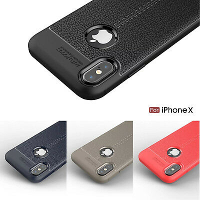 XHCOMPANY Leather Texture Phone Case for IPhone X 6 7 8 Plus Case Silicone Soft