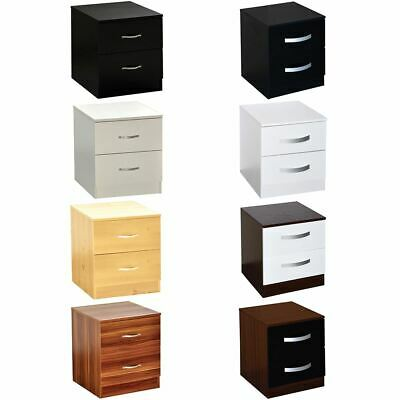 Hulio Riano 2 Drawer Chest Solid Wood High Gloss Bedroom Storage Furniture Unit