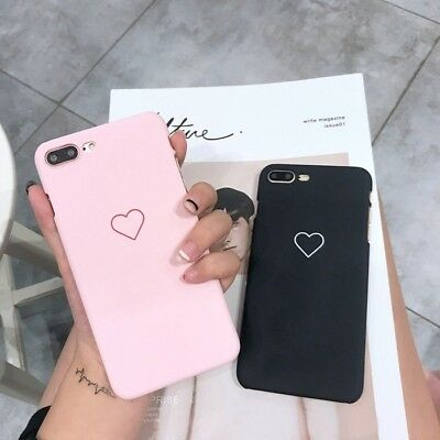 XHCOMPANY New Men Women Sweet Love Heart Couple Frosted Hard Back Cover Cute Pro