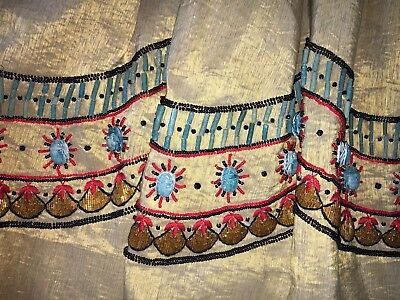 RARE Vintage Egyptian Scarab Skirt Woven Gold Beaded Embroidered 1960s Size 6/8