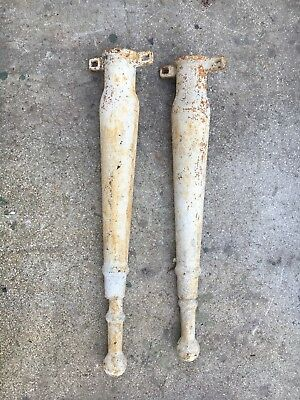Antique Cast Iron White Porcelain Sink Legs Adjustable Pair Old Vintage Hardware