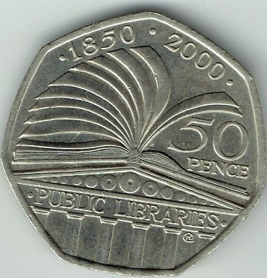 RARE 'Public Library' 2000 Fifty Pence Piece