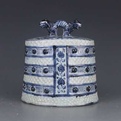 "7"" China antique Porcelain Ming xuande blue white dragon bell Collection"