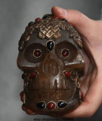 "3.6""Old Tibet Crystal Silver Jewel Skeleton Skull Head Buddha 8 Treasures Statue"