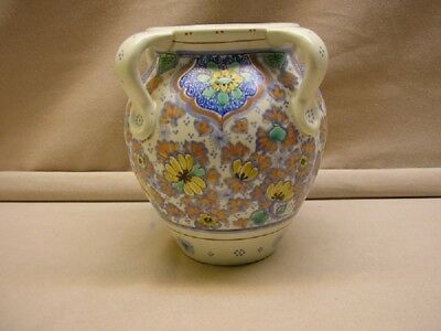 Gouda pottery 4-handle pot marked Zuid-Holland, yearsign 1918 height 7½ inch.
