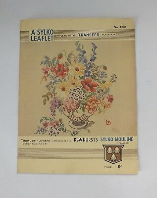 "VINTAGE EMBROIDERY TRANSFER Sylko Large Vase Of Flowers 12"" X 9"""