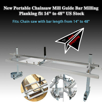 """Portable Chain saw Mill log Planking lumber cutting 14"""" - 48"""" chainsaw Guide Bar"""