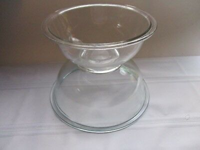 """Two ~ Clear Pyrex """"Nesting"""" Mixing Bowls ~ Ovenproof"""