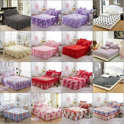 Various QueenKing Size Bed Wrap Bed Skirt Pillow Cases Dust Ruffle Drop Cover