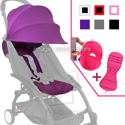 Universal Baby Stroller Canopy Hood Seat Pad Liner Set Sun Shade Seat Cover YoYo