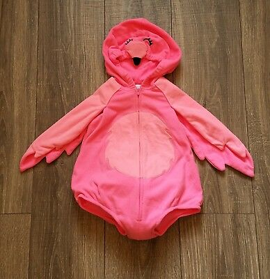 Carters Infants Flamingo Costume Sz 18 months Bright Pink Zip Front Hooded