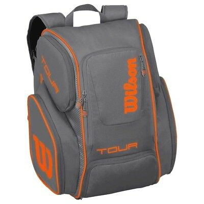 Wilson Tour V Backpack large - Tennisrucksack groß - grau/orange