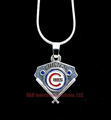 "Chicago Cubs MLB Sterling Silver 22"" Chain Vintage Pendant Baseball Plate"