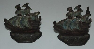 Pair of Vintage Antique Cast Iron Sailing Ship Boat Bookends